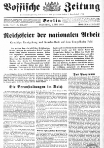 Titelseite Vossische Zeitung vom 2. Mai 1933 (Quelle: Staatsbibliothek zu Berlin - preußischer Kulturbesitz)