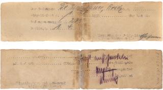 """Laufzettels des Häftlings Erich Simenauer mit der handschriftlichen Notiz: """"nicht mißhandeln"""". (Foto: Jüdisches Museum Berlin)"""